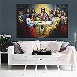 KWzEQ Cartel nórdico de la última Cena de Jesús Arte de la Pared de la Lona escandinava,Pintura sin Marco,75x112cm