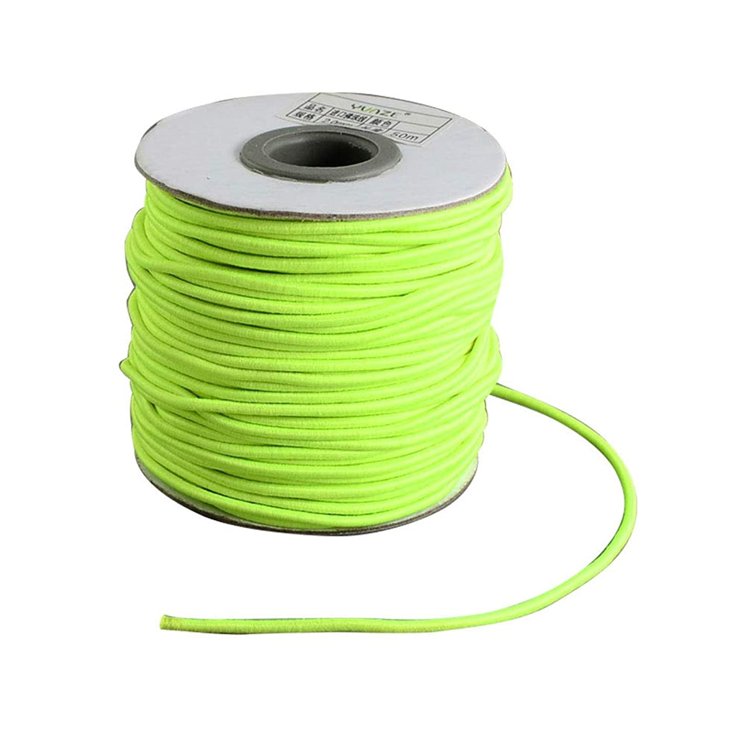 NBEADS A Roll of 70m Green Yellow Round Elastic Cord Beading Crafting Stretch String, with Nylon Outside and Rubber Inside, 2mm