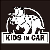 imoninn KIDS in car ステッカー 【パッケージ版】 No.72 トリケラトプスさん (白色)