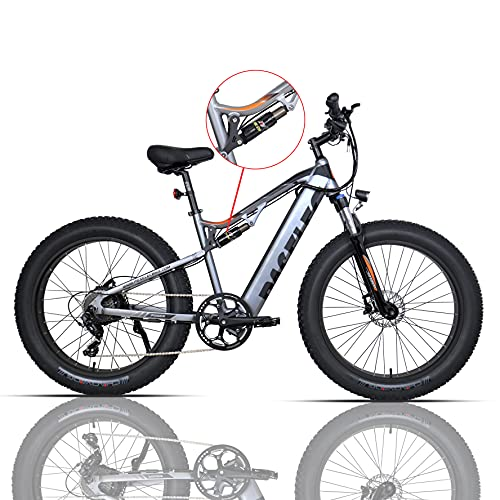 PASELEC Electric Bikes for Adult, Electric Mountain Bike, 4.0 Fat Tire E-Bike with 48V 14.5ah Lithium Battery, 750W Motor,9 Gear Full-Suspension E-MTB...