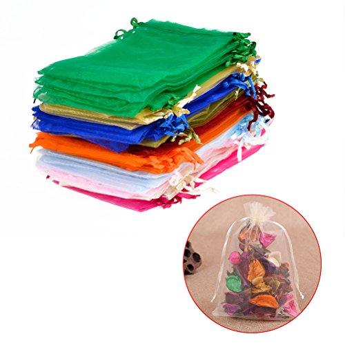 """""""N/A"""" 100 Stück Organzasäckchen 10x15cm Organzabeutel 10 farbige Geschenk Schmuckbeutel Beutel für die Verpackung von Geschenken"""