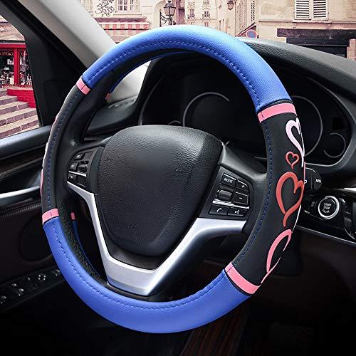 WHSS Funda para volante de coche de piel de microfibra para coche con corazón de amor, juego de cuatro estaciones de diámetro universal, 38 cm, color azul y rosa