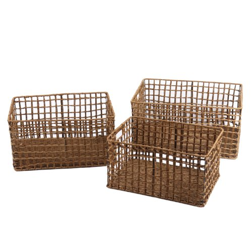Adeco Back-to-School Sale Multi-Purpose Milk Crate-Style Woven Baskets, Rectangular, Home Decor, Set of 3