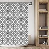 SISVIV Cortina de Ducha Impermeable Antimoho Cortinas para Baño Bañera 180 x 180 cm con 12 Ganchos Plástico 100% Poliéster Lavable Diseño Simple (Gris)