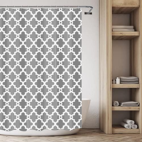 SISVIV Tenda da Doccia Impermeabile Antimuffa in Poliestere Tenda Vasca da Bagno 180 x 180 cm con 12 Ganci Plastica Lavabile Design Geometrico Grigio