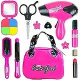 Big Mo's Toys Kids Beauty Salon Set, Stylish Girls Beauty Fashion Pretend Play Toy with Cosmetic Bag,...
