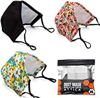 ATTICA 3Pack Adult Cotton Dust Face Mask Washable and Reusable With Filter Adjustable Elastic Ear Loop Breathable and...