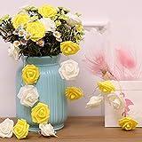 Guirnalda de Luces LED 3M 30 LED Rosas Luces de Decoración de Flores Románticas para San Valentín, Navidad, Bodas, Fiestas-Blanco Cálido (Rosa Amarillas y Blancas)