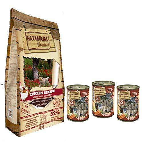 NATURAL GREATNESS - Pienso de Pollo para Perros Cachorros Hipoalergénico Sin Cereales - Saco 6 kg + 3 Latas Venado y Zanahoria   ANIMALUJOS