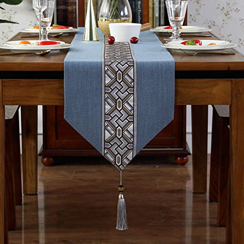 QL Table Runner Compatible Table Runners Linen Look Oblong Table Runner With Tassels Embroidered Rectangle Washable Dinner Picnic Table Cloth,4 Colors (Color : Blue, Size : 33 * 180cm)