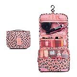 El leopardo rosado de alta capacidad de maquillaje bolsa viaje bolsa cosméticos