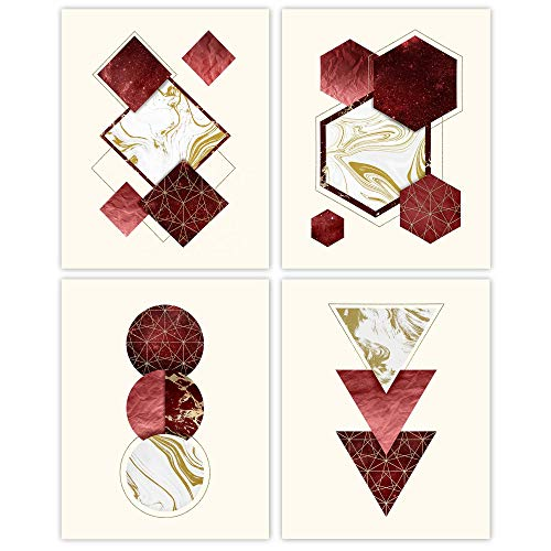 Modern Geometric Abstract Prints, Red Gold Wall Art Decor, Set of 4 (8x10) Unframed Photos, Artwork Gifts Under 20 for Home, Bathroom, Bedroom, Office Office, Studio, Lounge, Design Fan