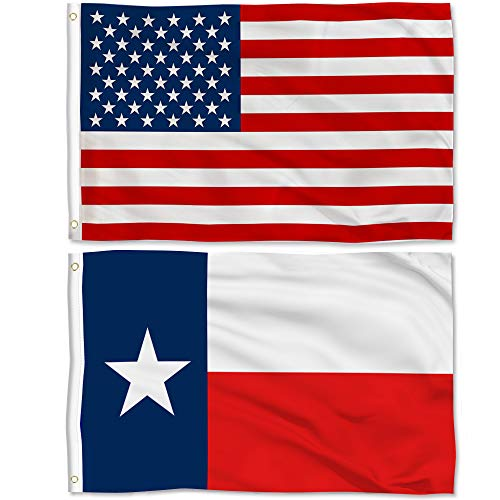 Aisto 2 Pieces 3x5 Feet Texas State Flag and American Flag for Outdoor and Indoor Use -Made by 100% Polyester-Vivid Colors and UV Fade Resistant - Double Stitched with Two Brass Grommets.