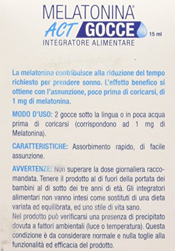 Linea ACT - Melatonina ACT Gocce- Integratore Alimentare in gocce a base di Melatonina - 300 gocce (2 gocce=1mg di Melatonina)