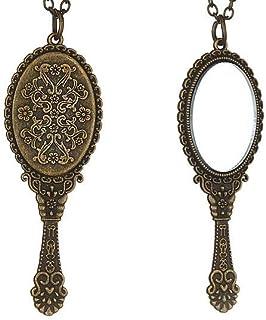 Vintage Necklace Mirror Pendant Retro Gothic Victorian Jewelry