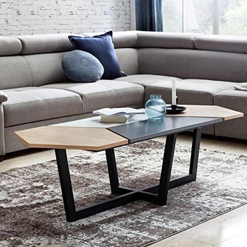WOHNLING Couchtisch SKANDI Retro Design:kandinavisch MDF-Holz Eiche 152 x 46 x 60 cm | Großer Wohnzimmertisch mit Metall-Gestell | Sofatisch Loungetisch flach