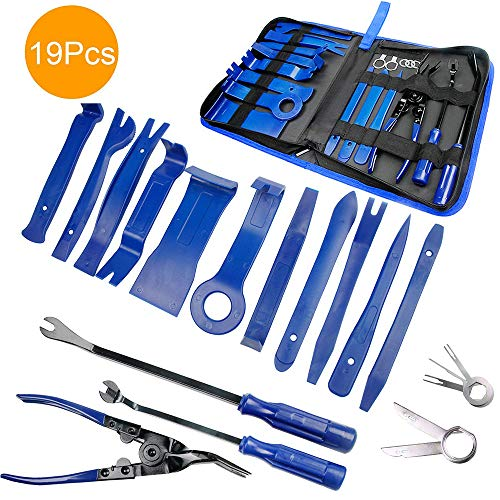 Demontage Werkzeug Auto - STYLINGCAR Zierleistenkeile Verkleidungs Werkzeug für Innen-Verkleidung Ausbau, Verschiede Arten von Werkzeug enthältet Starke Nylon (19pcs Blau)