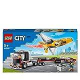 LEGO60289CityCamióndeTransportedelAviónAcrobático,CamióndeJugueteconRemolqueyAviónaReacción
