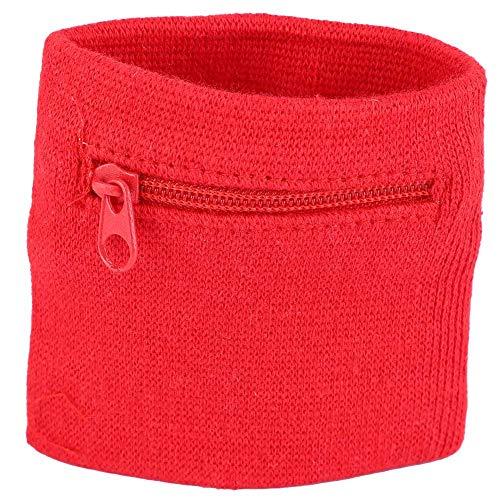 Yolispa Pulsera unisex de almacenamiento con cremallera bolsillo Sport Wristband Gym Running (negro), Red (Rojo) - 1490332/120965AM147UK9DFG