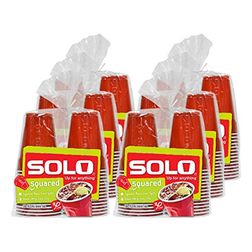 Solo Cup Red Squared Plastic Party Cups, 18 Ounce, 180 Count