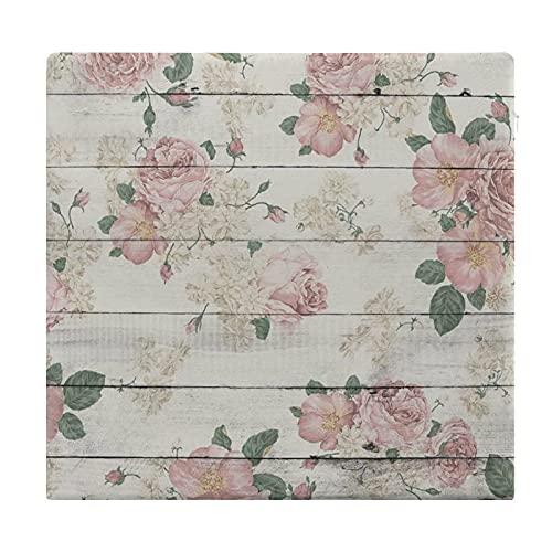 Cuscini da pavimento quadrati,cuscino per sedile imbottito per sedia,Retro Country Plancia di legno floreale Vintage Pink Rose Flower su,Seduto per ufficio,casa,addensare