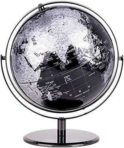 Globos del Mundo para niños, 10 Adultos, Escritorio, Globo terráqueo geográfico, Globo terráqueo Educativo con Soporte, Juguete Educativo para niños, Color Negro