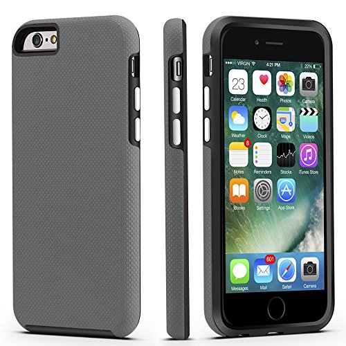 CellEver Compatible with iPhone 6 / 6s Case, Dual Guard Protective Shock-Absorbing Scratch-Resistant Rugged Drop Protection Cover Designed for iPhone 6 / 6S (Slate)