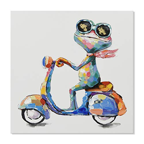 JAPO ART - Frog Painting 100% Hand Painted Oil Painting Funny Animal with Stretched Frame Wall Art for Living Room Ready to Hang (Hippie Frog Ride Motorcycle, 24 x 24 Inch)