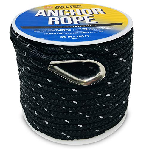 Premium Anchor Rope Double Braided Boat Anchor Line 100 ft Black Marine Grade 3/8 Rope