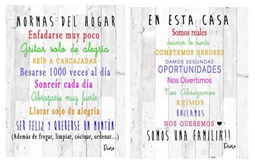 Dcine Set 2 Cuadros Decorativos Frases positivas/Normas del hogar /19 cm x 25 cm x 4 mm unid. /Lámina sobreMadera