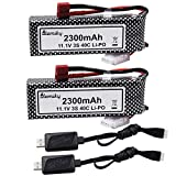 Blomiky 2 Pack 11.1V 3S 2300mAh 24.42Wh Li-Polymer Rechargeable Battery with Deans T Plug and Charger Cable for RC Truck Airplane Drone 11.1V 2300mAh T
