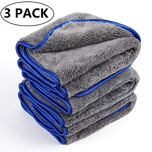 Lawei 3-pack microvezel dikke pluche doeken microvezel auto reinigingsdoeken voor auto & motor super absorberend - Paint Care Cleaning Buffing Polijsten Drogen, 42 x 48 cm