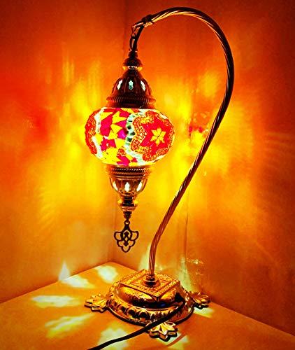 Lámparas de escritorio de estilo Tiffany turco/marroquí hechas a mano (Aprobado por las autoridades estándar del Reino Unido y la UE)