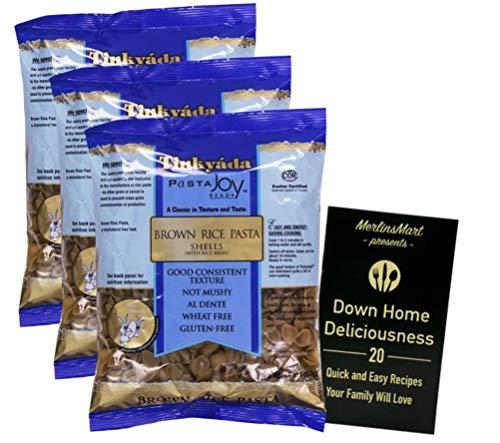 Tinkyada Gluten-Free Brown Rice Pasta   Shells (16 Ounces)   3 Count Plus Recipe Booklet Bundle