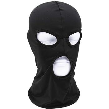 Kingsie フェイスマスク ストレッチ 3ホール フルフェイス 軽量 防風/日焼け止め 目出し帽 ヘルメット インナー 自転車/バイク/サバイバルゲーム (ブラック)