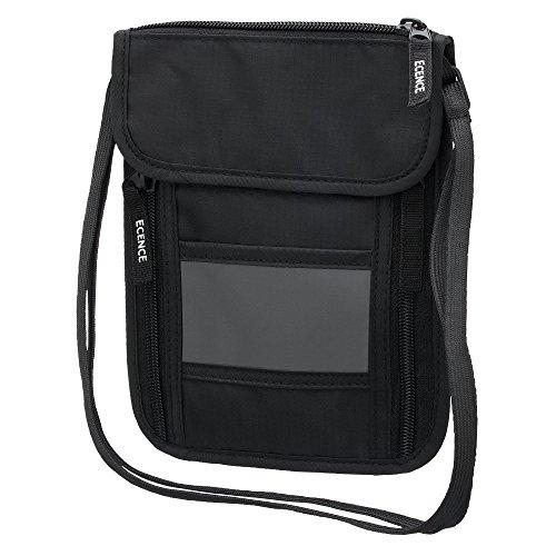 ECENCE Marsupio con Blocco RFID, Borsetta con Protezione NFC, borsellino per Uomo e Donna da Collo, Idrorepellente, Sicurezza per passaporti e Carte di Credito, Tracolla, Borsetta da Viaggio 11030407