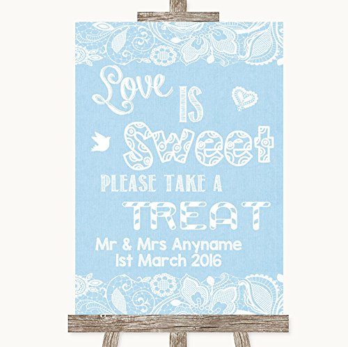 Blue jute & kant collectie blauwe jute & kant liefde is zoet nemen een behandeling snoep buffet bruiloft teken Framed Oak Small