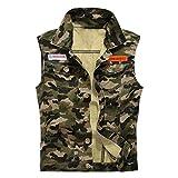 MODOQO Men's Vest Jeans Coat Casual Sleeveless Lapel Camo Print Lightweight Outwear Jacket Camouflage
