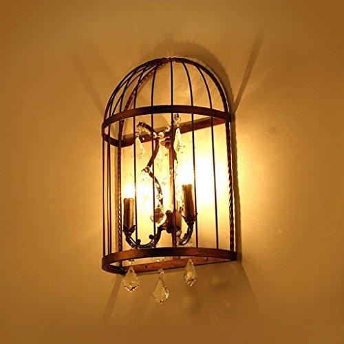 DSJ Loft-industriële slaapkamer-nachtkastje-creatieve persoonlijkheids-ijzer-vogelkooi-kristallen wandlamp