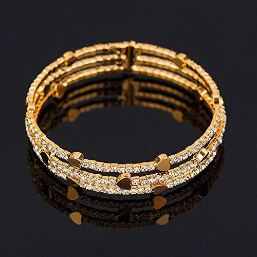 DFGHJK Pulseras para Mujer Lindo Brazalete De Diamantes De Imitación De Cristal para Mujer Grandes Pulseras De Corazón De Oro Amarillo Brazaletes para Mujeres Regalos Retro Vintage
