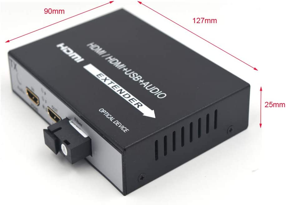 12.4mi Uncompressed 1080P HDMI Over Fiber Optic Singlemode up 20Km Primeda-telecom HDMI Extender and Multimode up 500m 0.31mi Without KVM and Loop Out