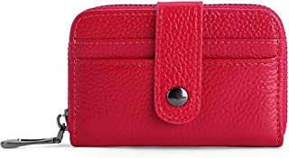 Women's Wallet First Layer Leather Card Holder Card Holder Mini Short Leather Credit Card Holder ID Card Holder (Color : Red, Size : S)