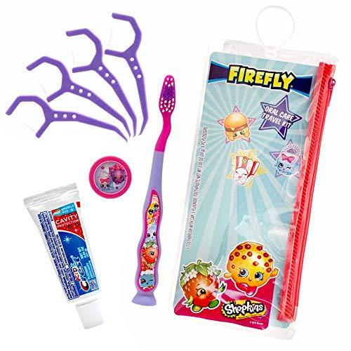 Firefly Dental Travel Kit for Kids - 1 Firefly Toothbrush, 1 Toothpaste, 1 Toothbrush Cap, 4 Flossers (Shopkins)