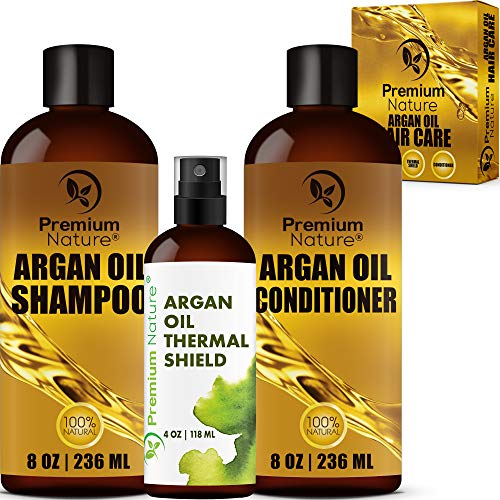 Argan Oil Hair Treatment Gift Set - 3 Value Pack: Morrocan Argan Oil Shampoo 8oz Conditioner 8 oz & Hair Heat Protectant Spray 4oz Sulfate Free Natural Damaged Hair Growth Repair Packaging May Vary