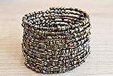 Handmade African Bracelet - African Jewelry - Handmade in Kenya - Metallic/Different shades of Bronze/Eggplant Purple, KB001