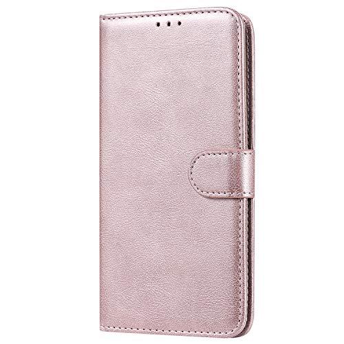Lomogo Huawei Honor 8A Hülle Leder, Schutzhülle Brieftasche mit Kartenfach Klappbar Magnetverschluss Stoßfest Kratzfest Handyhülle Case für Huawei Honor 8A - LOKTU110043 Rosa Gold