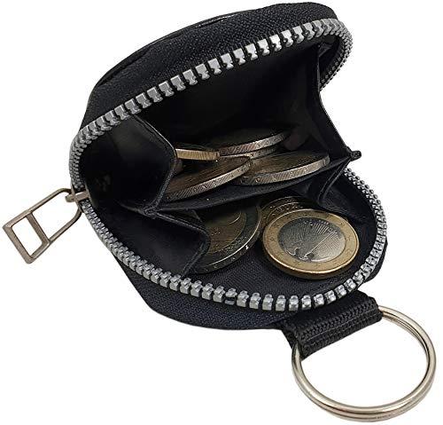 Echt Leder Schlüsselanhänger mit Kleingeldfach in Vegetabil Gegerbtem Rinderleder MJ-Design-Germany in Schwarz