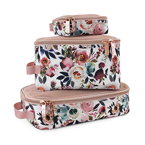 Itzy Ritzy Packing Cubes – Set of 3 Packing Cubes or Travel Organizers; Each Cube Features a Mesh Top, Double Zippers and a Fabric Handle; Blush
