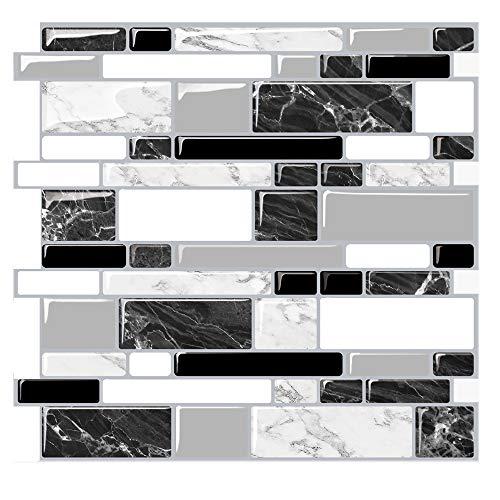Kasliny 6 Stücke 3D Selbstklebende Wandfliesen Aufkleber, Peel und Stick Vinyl Tapete Anti Mold Badezimmer Esszimmer Küche Hotel Dekoration 30.5x30.5cm 0,09 ㎡/Piece (J015-6)