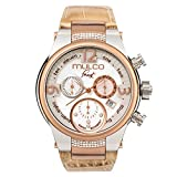 Mulco Frost Ladies Quartz Swiss Chronograph Movement Women's Watch   Mother of Pearl Sundial with Rose Gold and Swarovski Accents   Beige Watch Band   Water Resistant MW5-2601-113